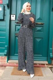 Neva Style - Puantiyeli Siyah Tesettür Tulum 2896S - Thumbnail