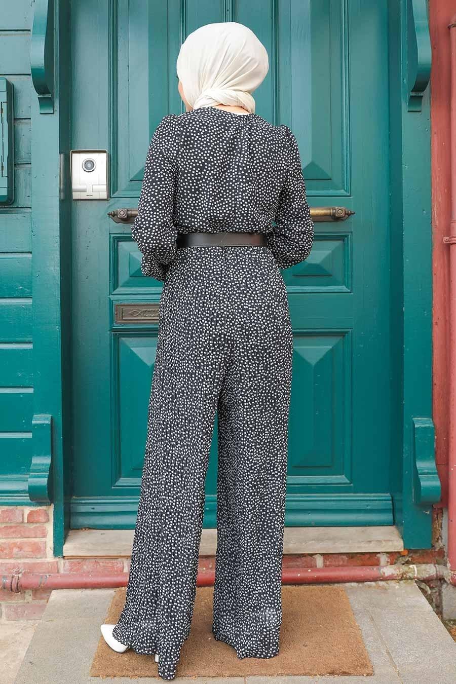 Neva Style - Puantiyeli Siyah Tesettür Tulum 2896S