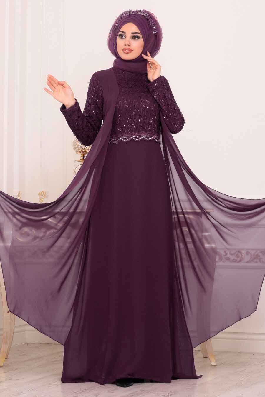 Neva Style - Pul Payetli Mor Tesettür Abiye Elbise 25758MOR