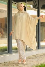 Neva Style - Pullu Bej Tesettür İkili Takım 10830BEJ - Thumbnail