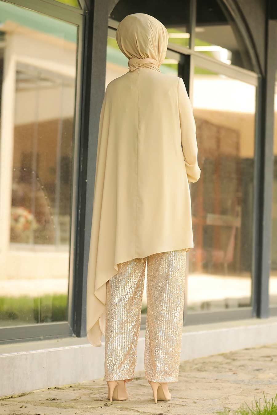 Neva Style - Pullu Bej Tesettür İkili Takım 10830BEJ