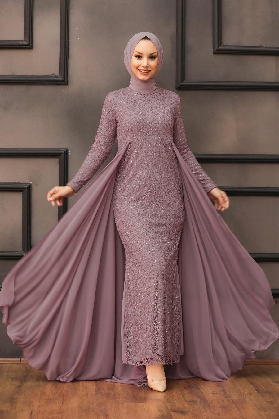 Neva Style - Pullu Lila Tesettür Abiye Elbise 90000LILA