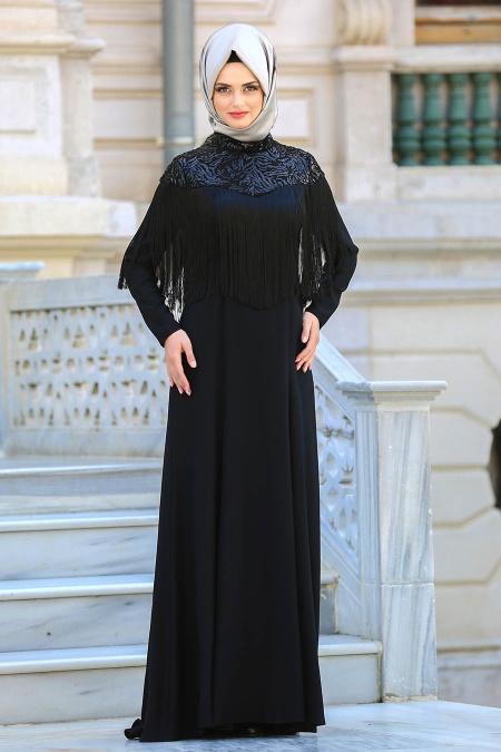 Neva Style - Püsküllü Siyah Tesettür Abiye Elbise 3547S