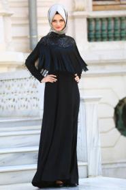 Neva Style - Püsküllü Siyah Tesettür Abiye Elbise 3547S - Thumbnail