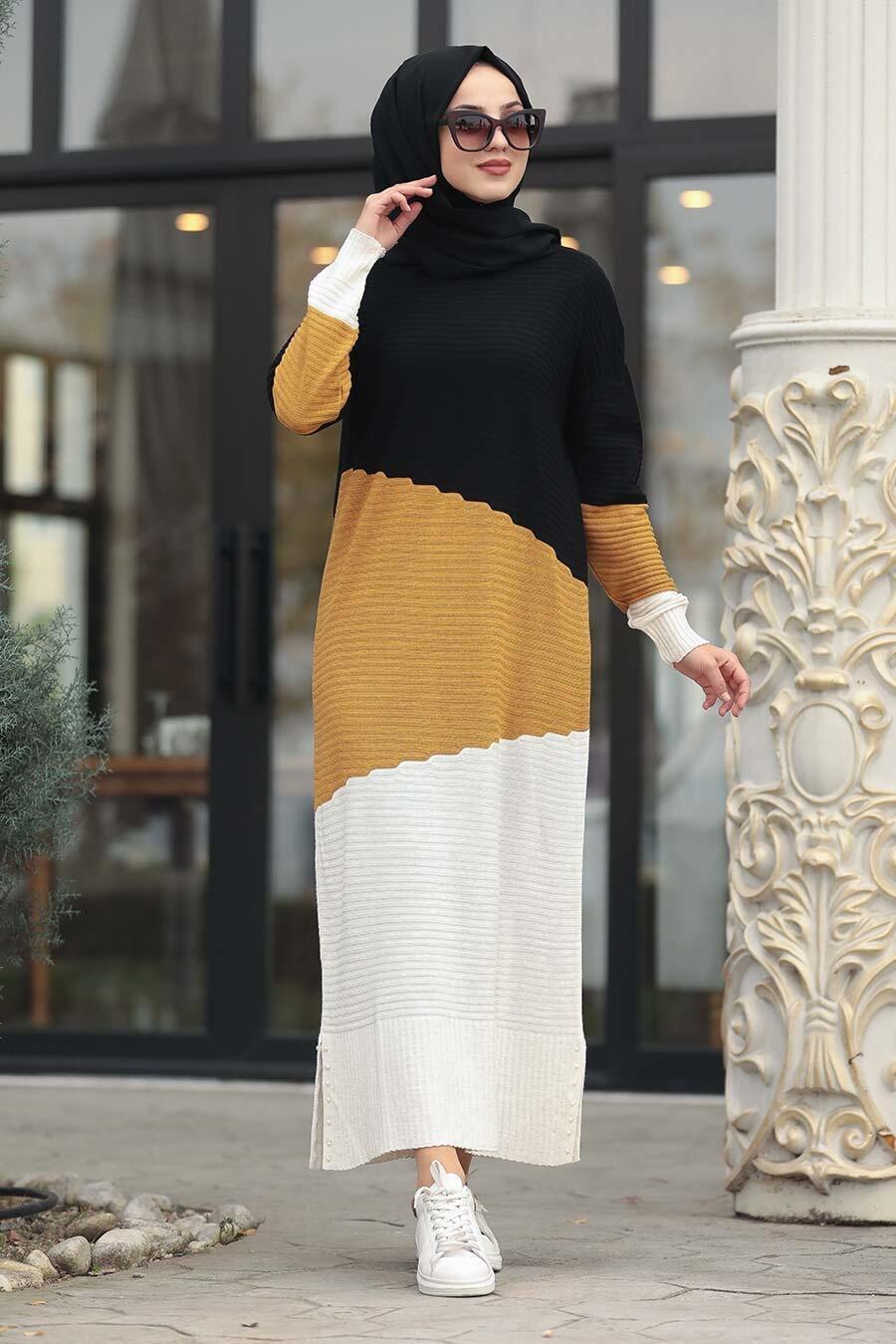 Neva Style - Renk Detaylı Hardal Triko Elbise 1171HR