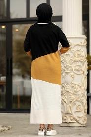 Neva Style - Renk Detaylı Hardal Triko Elbise 1171HR - Thumbnail