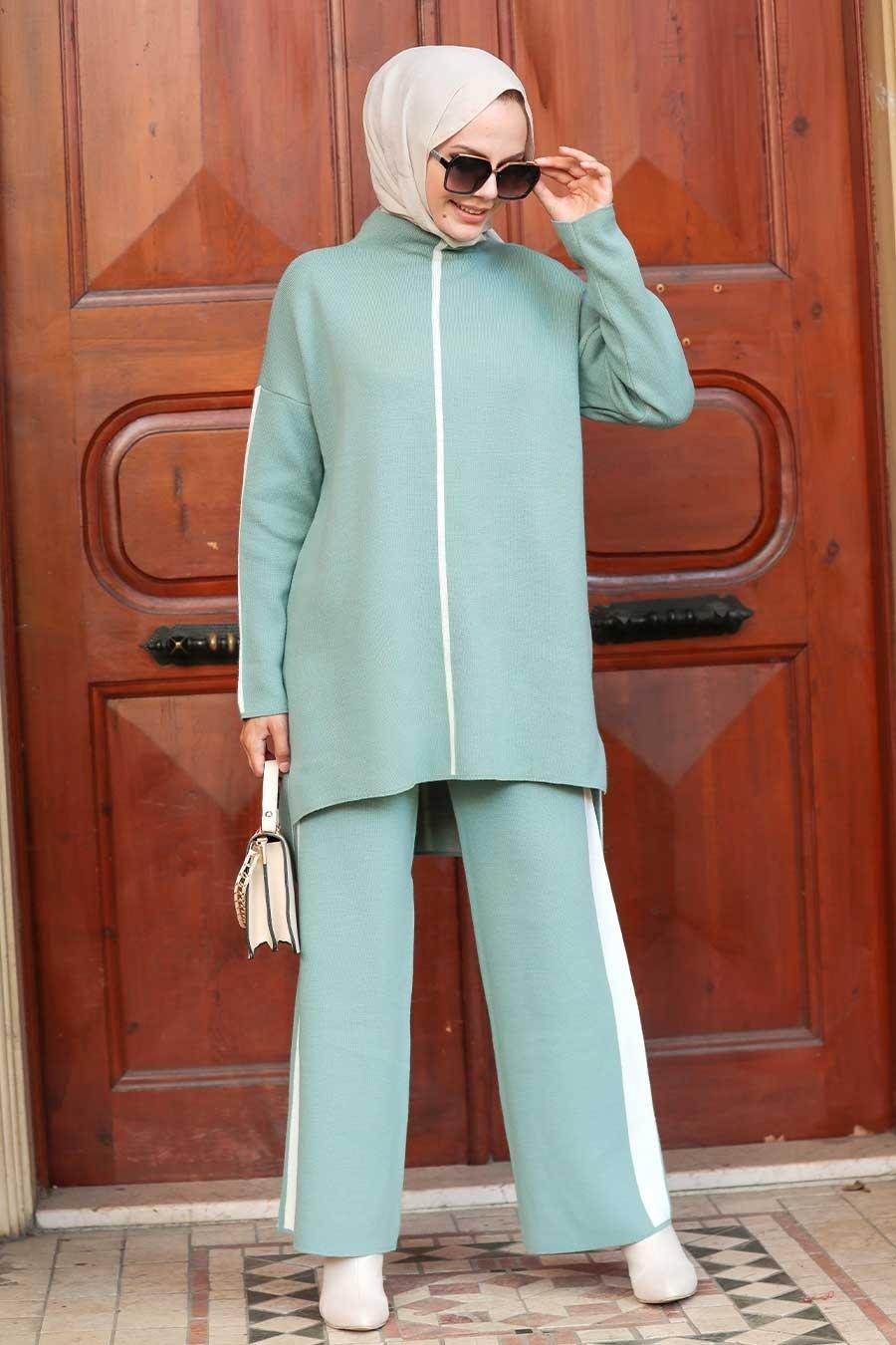 Neva Style - Şerit Detaylı Çağla Yeşili Tesettür Triko İkili Takım 2010CY
