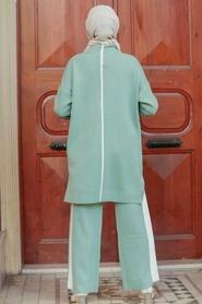 Neva Style - Şerit Detaylı Çağla Yeşili Tesettür Triko İkili Takım 2010CY - Thumbnail