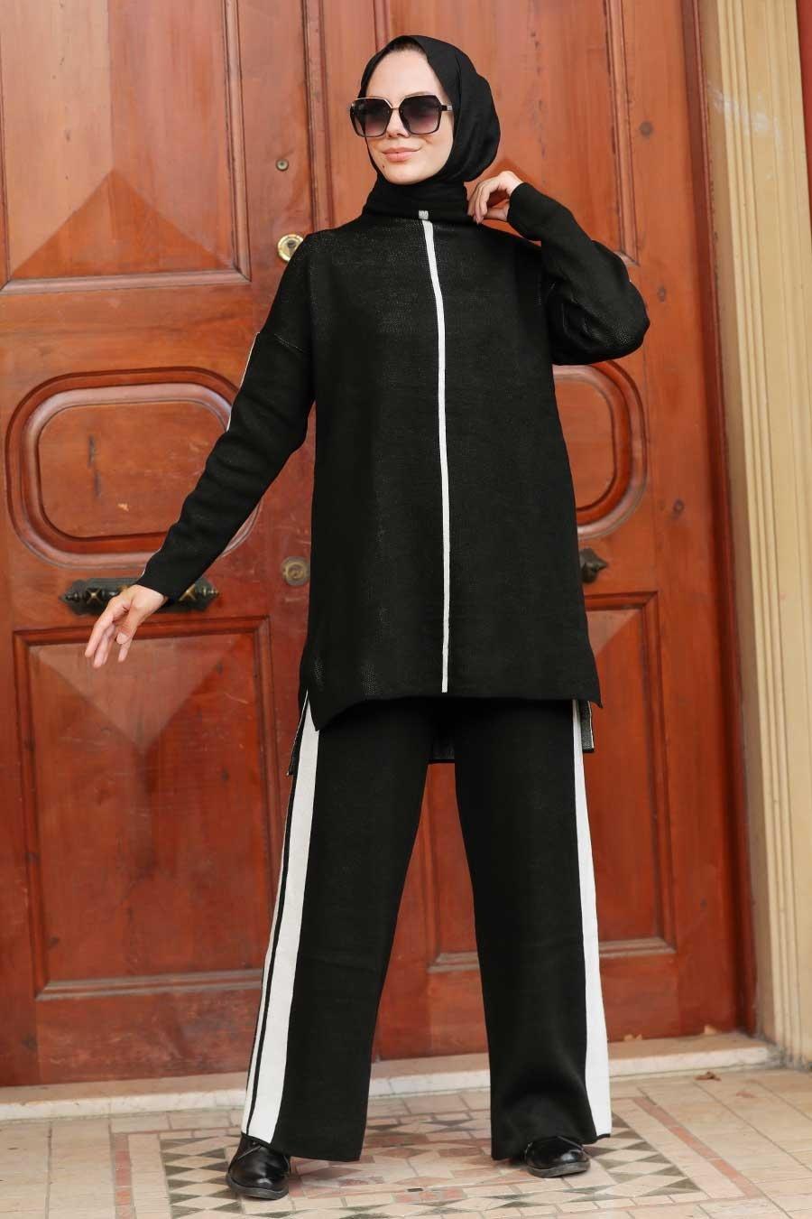 Neva Style - Şerit Detaylı Siyah Tesettür Triko İkili Takım 2010S