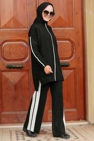 Neva Style - Şerit Detaylı Siyah Tesettür Triko İkili Takım 2010S - Thumbnail