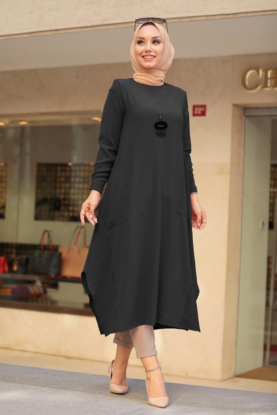 Neva Style - Siyah Tesettür Tunik 2365S