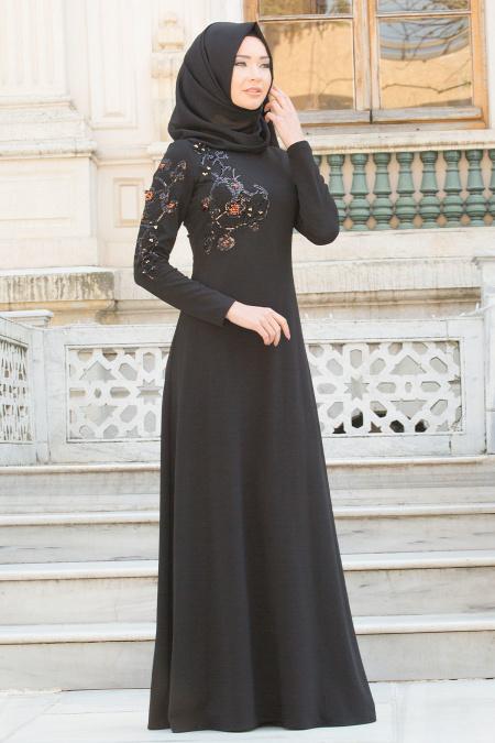 Neva Style - Üç Boyut Çiçekli Siyah Tesettür Abiye Elbise 10027S