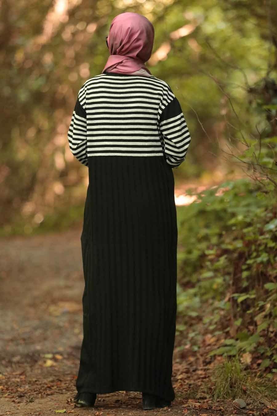 Neva Style - Üstü Desenli Gri Tesettür Triko Elbise 10282GR