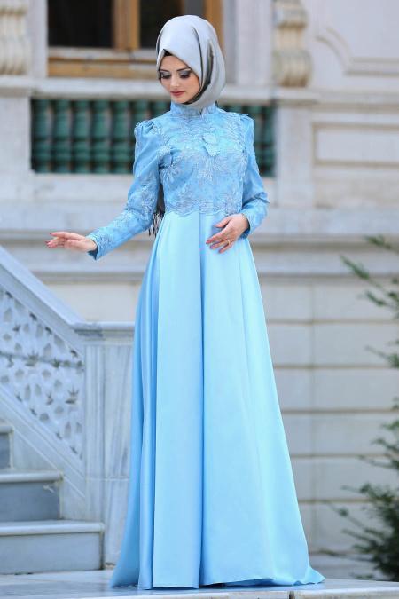 Neva Style - Üzeri Dantelli Bebek Mavisi Tesettür Abiye Elbise 3542BM