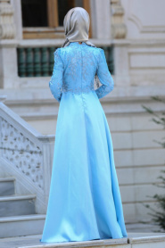 Neva Style - Üzeri Dantelli Bebek Mavisi Tesettür Abiye Elbise 3542BM - Thumbnail