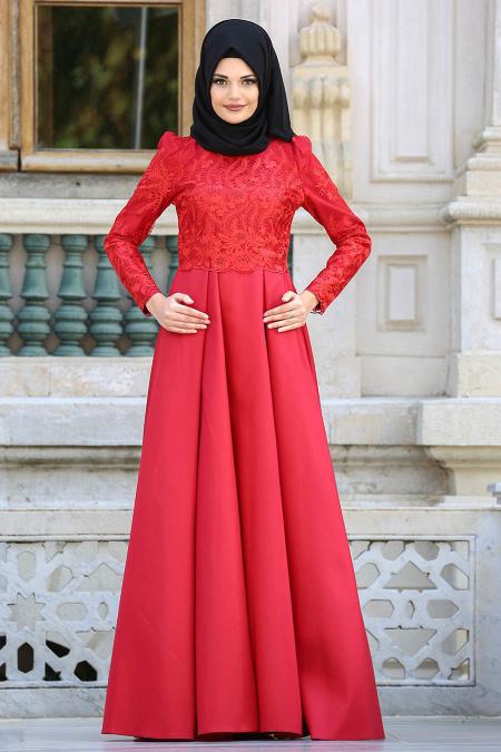 Neva Style - Üzeri Dantelli Kırmızı Tesettür Abiye Elbise 3542K
