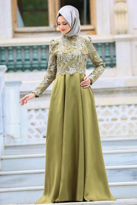 Neva Style - Üzeri Dantelli Yağ Yeşili Tesettür Abiye Elbise 3542YY