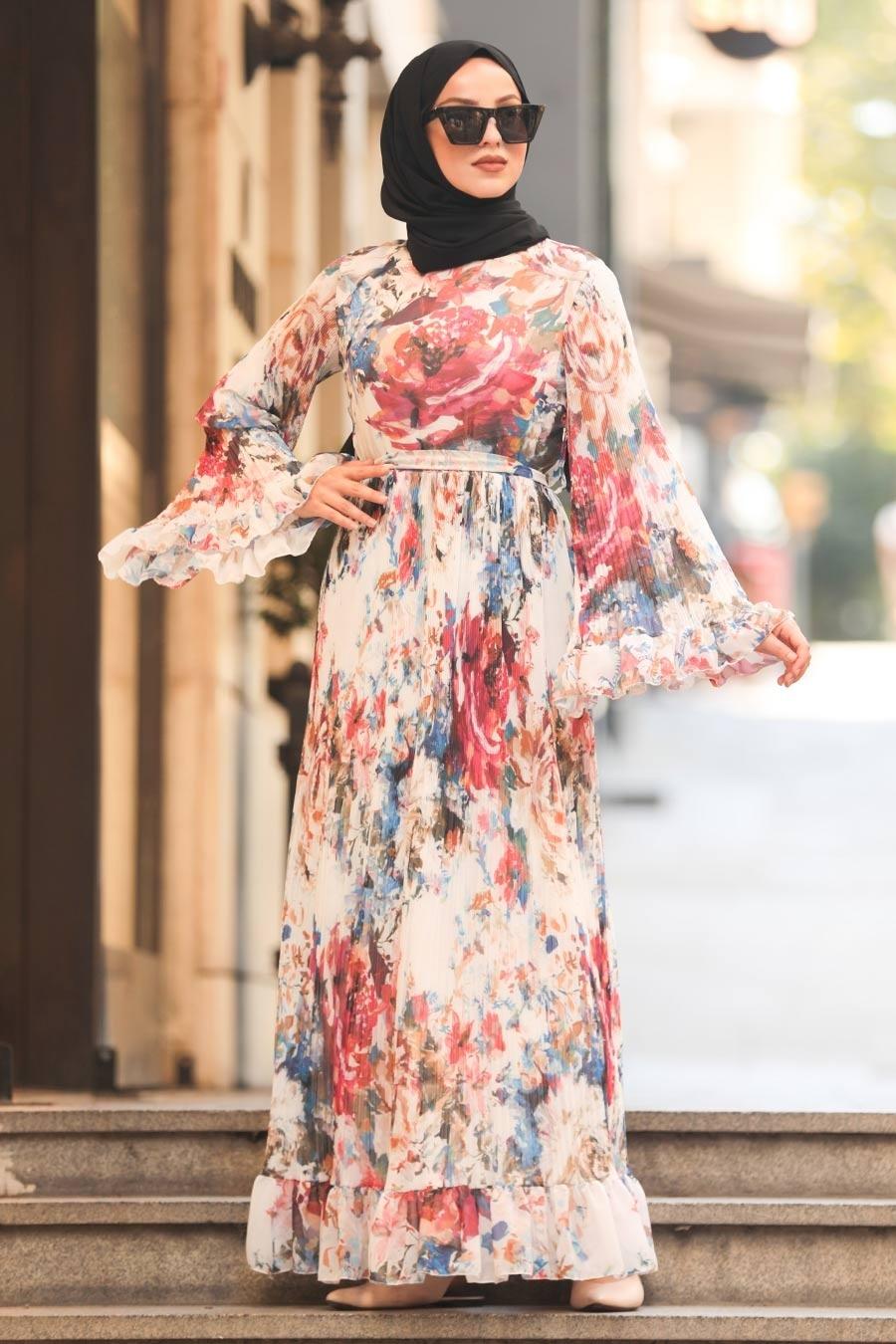 Neva Style - Volan Kol Beyaz Tesettür Elbise 23814B