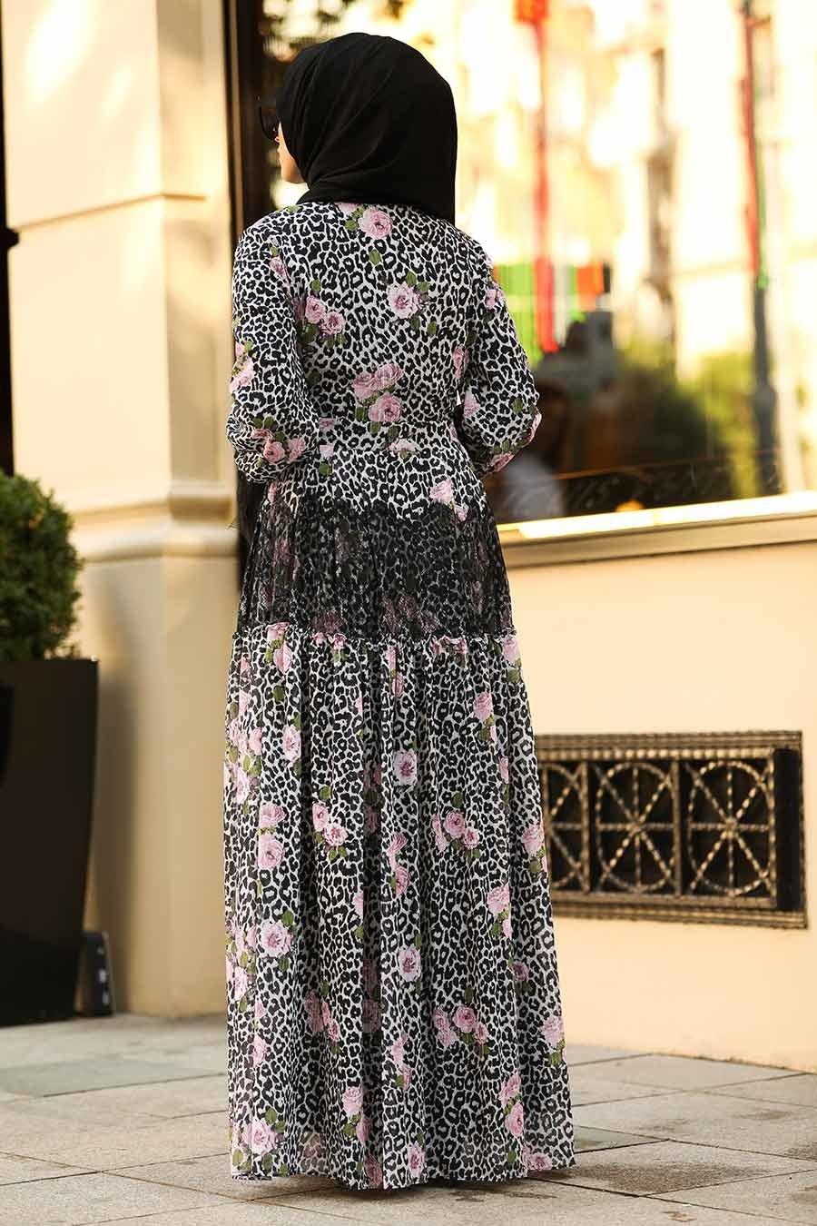 Neva Style - Volan Kol Çiçek Desenli Tesettür Elbise 12660DSN
