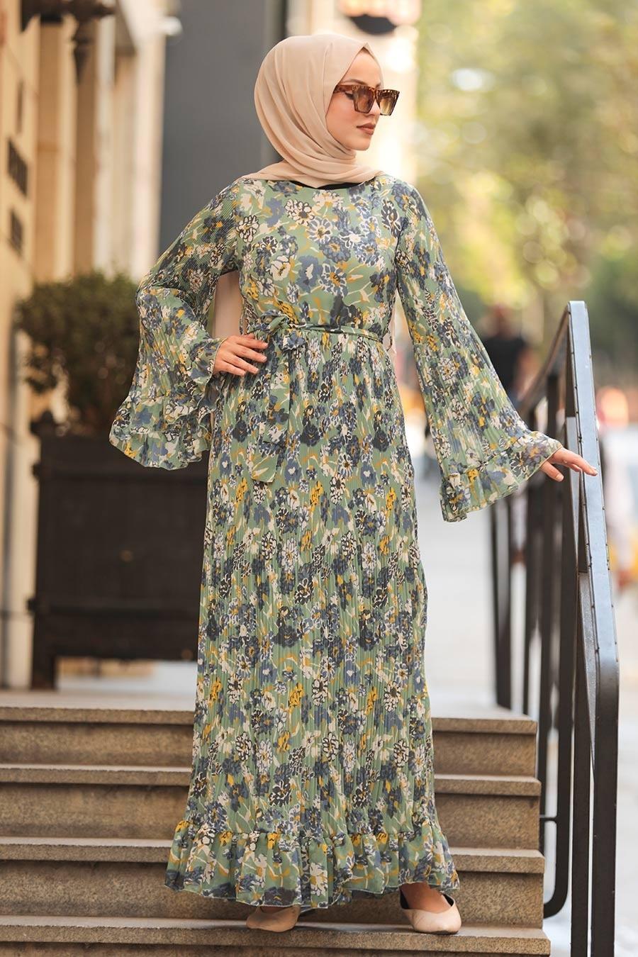 Neva Style - Volan Kol Desenli Çağla Yeşili Tesettür Elbise 2381CY