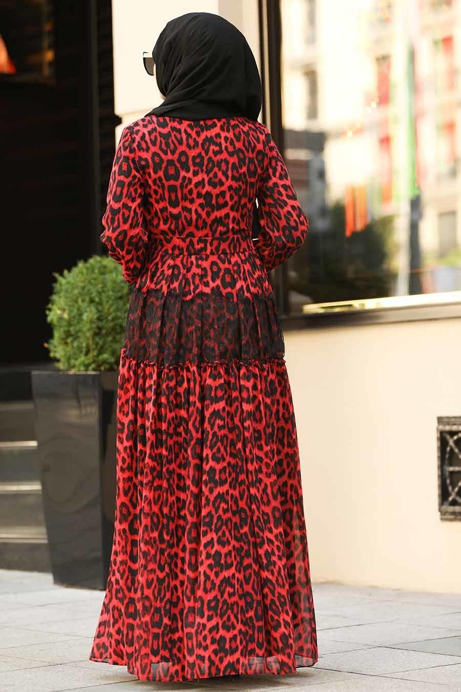 Neva Style - Volan Kol Kırmızı Tesettür Elbise 1266K