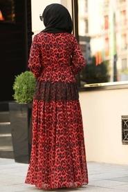 Neva Style - Volan Kol Kırmızı Tesettür Elbise 1266K - Thumbnail