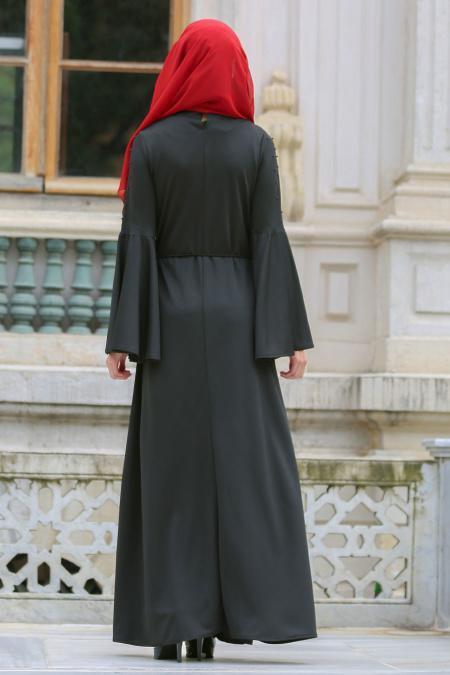 Neva Style - Volan Kollu Boncuk Detaylı Siyah Tesettür Elbise 100116S