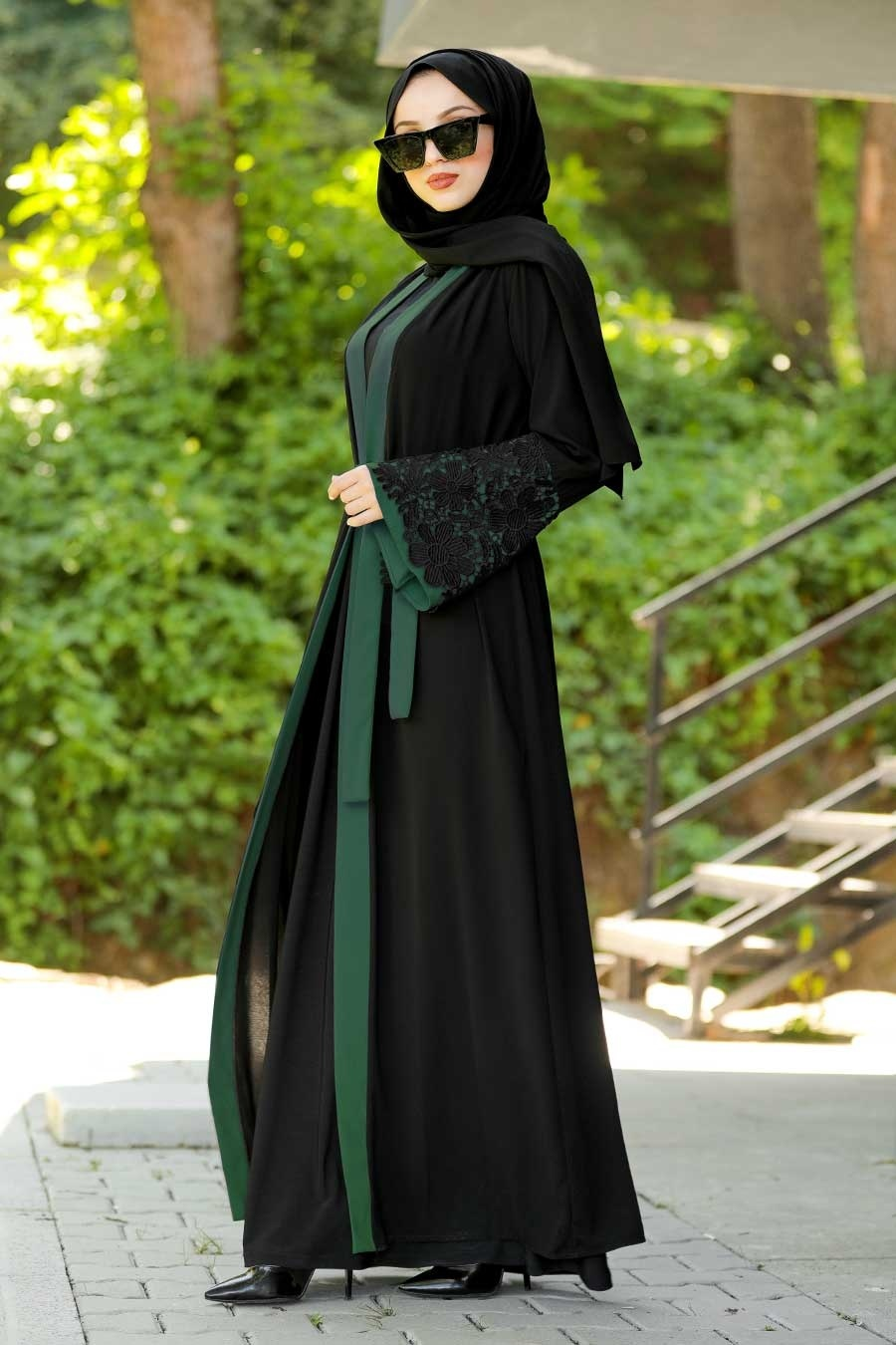 Neva Style - Volan Kollu Yeşil Tesettür Abaya 55084Y
