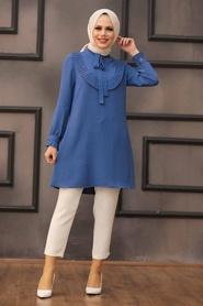 Neva Style - Yakası Bağlamalı İndigo Mavisi Tesettür Tunik 512IM - Thumbnail