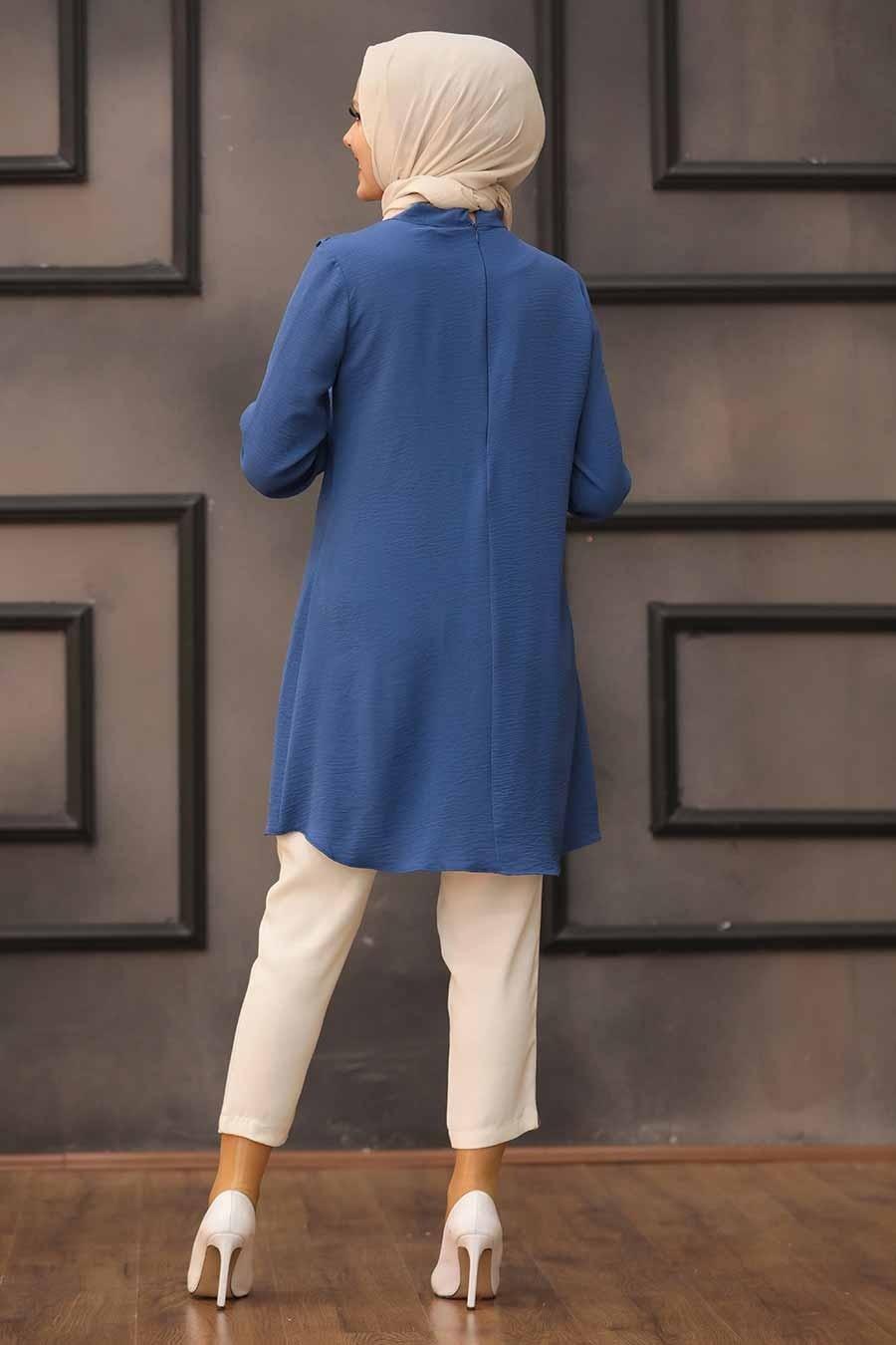 Neva Style - Yakası Bağlamalı İndigo Mavisi Tesettür Tunik 512IM