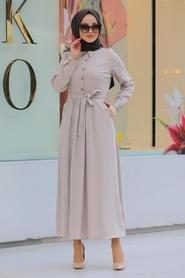 Neva Style - Yakası Düğmeli Bej Tesettür Elbise 462BEJ - Thumbnail