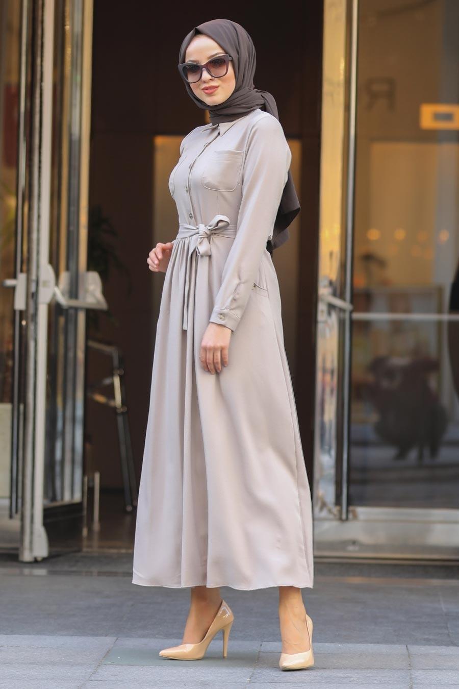 Neva Style - Yakası Düğmeli Bej Tesettür Elbise 462BEJ