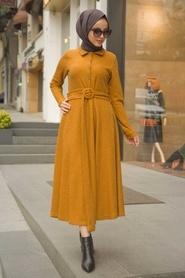 Neva Style - Yakası Düğmeli Hardal Tesettür Elbise 1391HR - Thumbnail