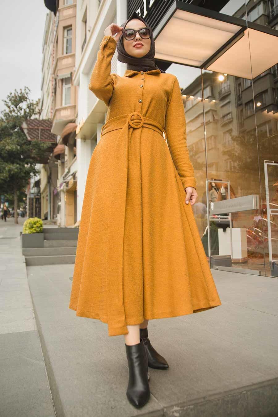 Neva Style - Yakası Düğmeli Hardal Tesettür Elbise 1391HR
