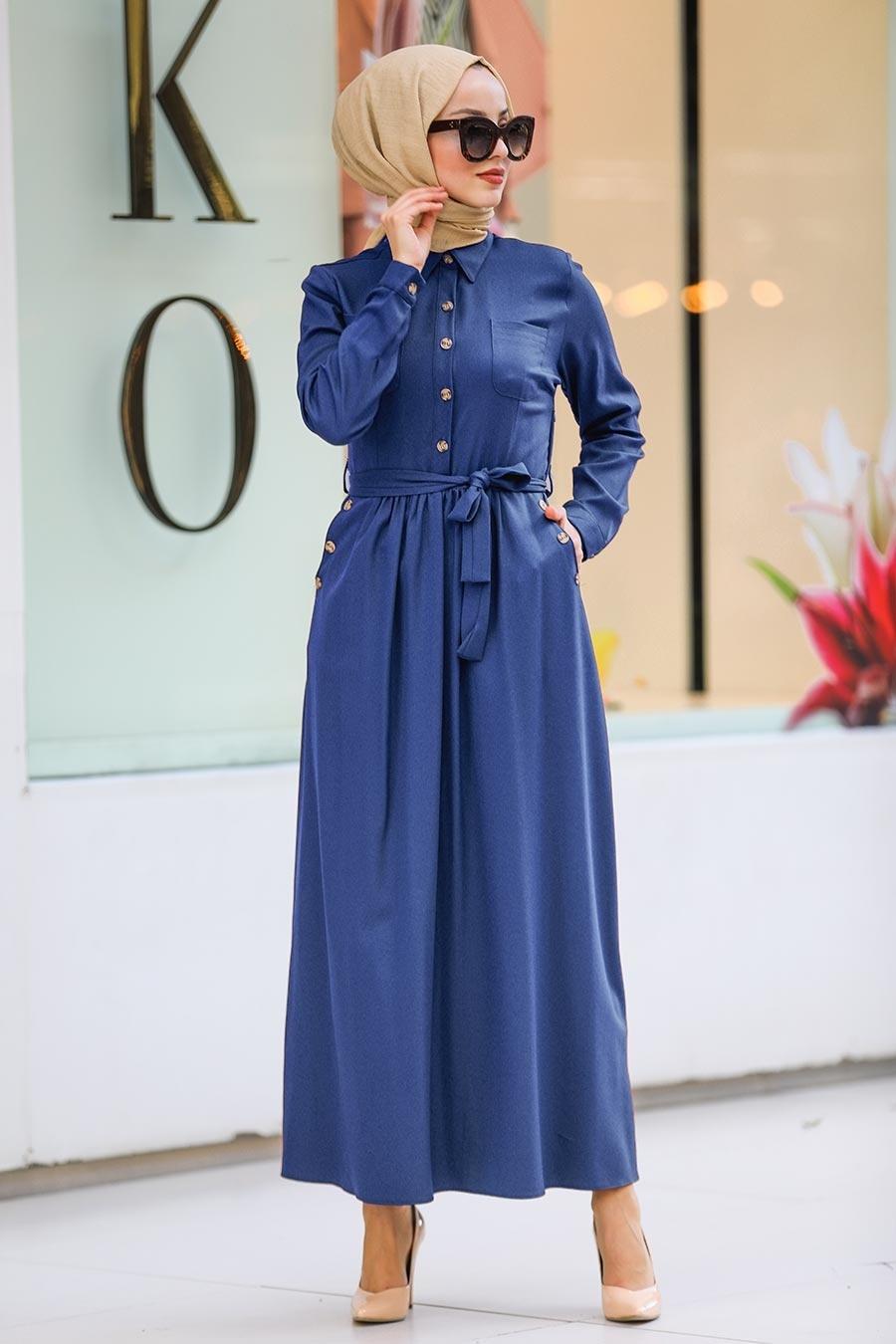 Neva Style - Yakası Düğmeli İndigo Mavisi Tesettür Elbise 462IM