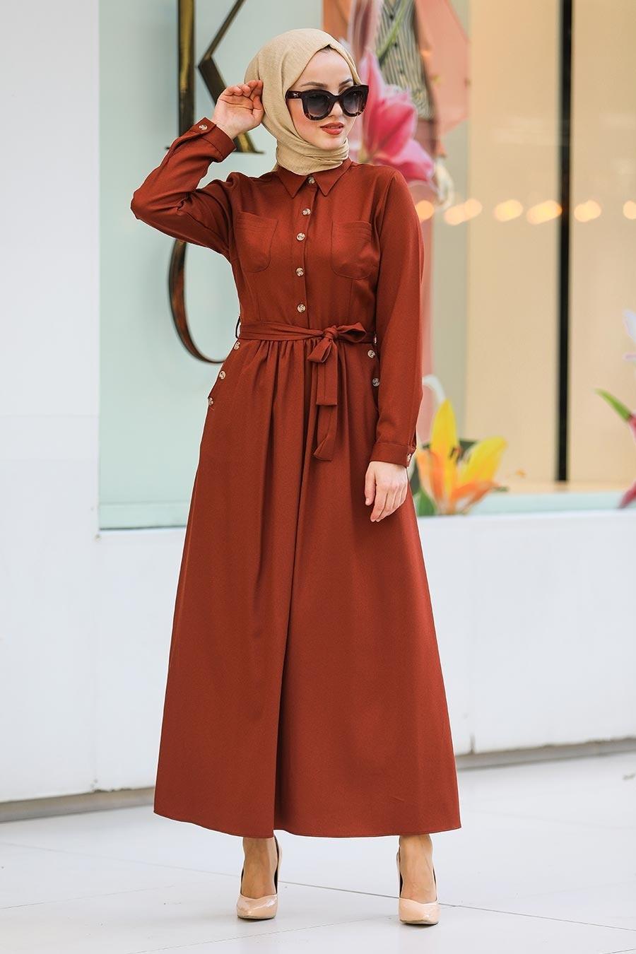 Neva Style - Yakası Düğmeli Koyu Kiremit Tesettür Elbise 462KKRMT