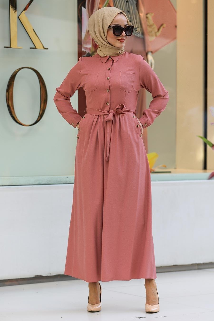 Neva Style - Yakası Düğmeli Pudra Tesettür Elbise 462PD
