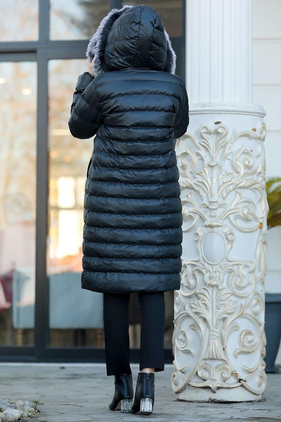 Neva Style - Yakası Kürklü Siyah Tesettür Şişme Mont 2512S
