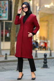 New Kenza - Claret Red Hijab Coat 4977BR - Thumbnail