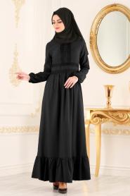 New Kenza - Dantel Detaylı Siyah Tesettür Elbise 3159S - Thumbnail
