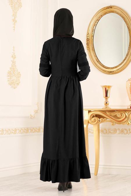 New Kenza - Dantel Detaylı Siyah Tesettür Elbise 3159S