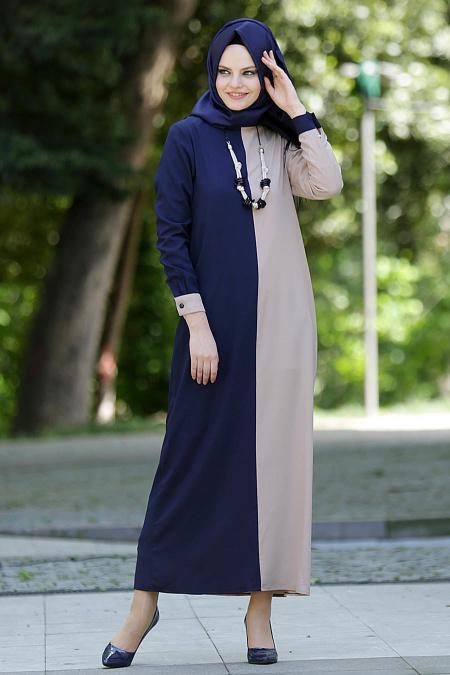 New Kenza - Lacivert / Bej Elbise