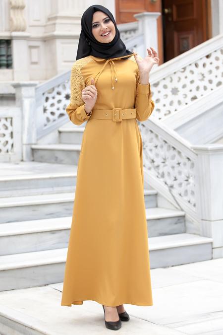 New Kenza - Omuzları Dantel Detaylı Hardal Elbise