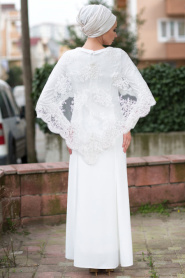 Beyaz Tesettür Abiye Elbise 7024B - Thumbnail