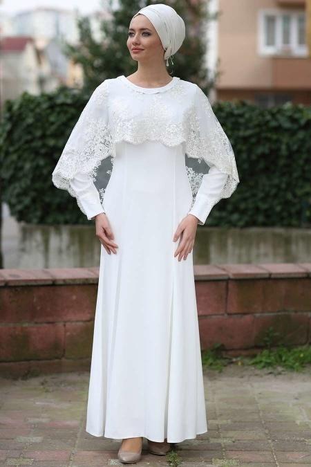 Beyaz Tesettür Abiye Elbise 7024B