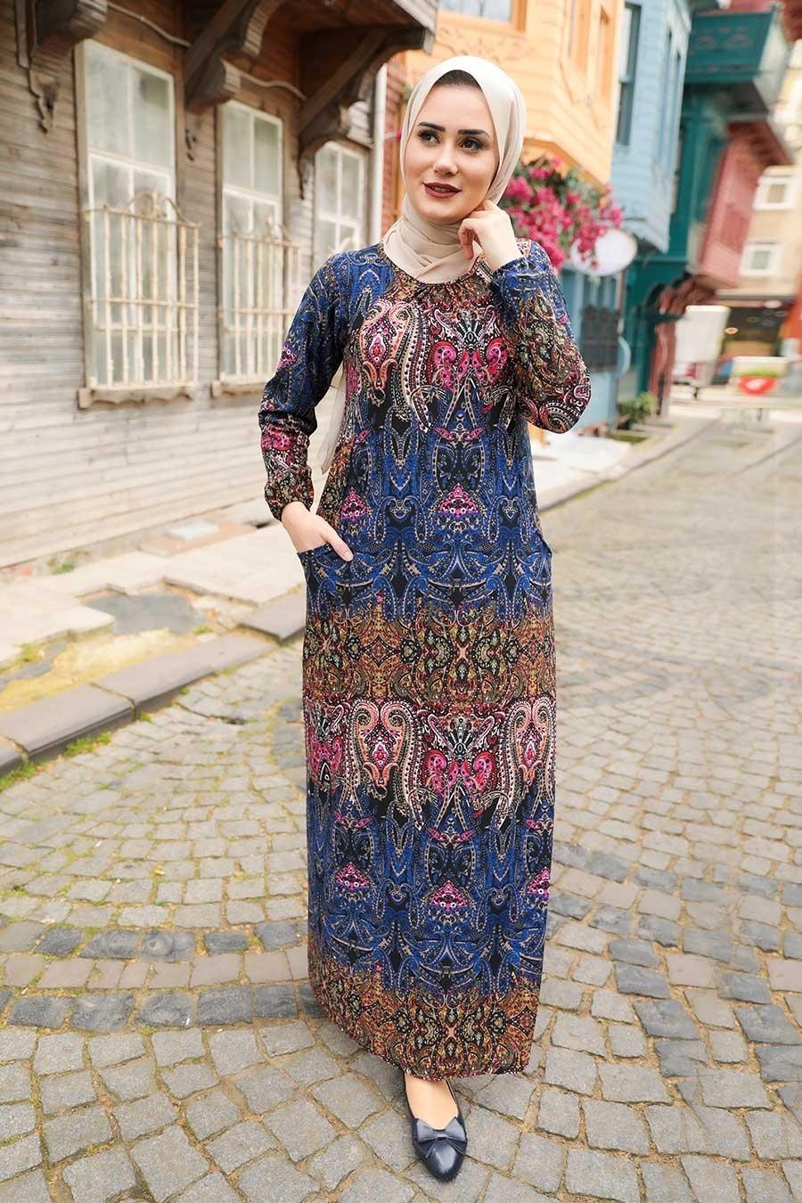 Patterned Hijab Dress 6681DSN
