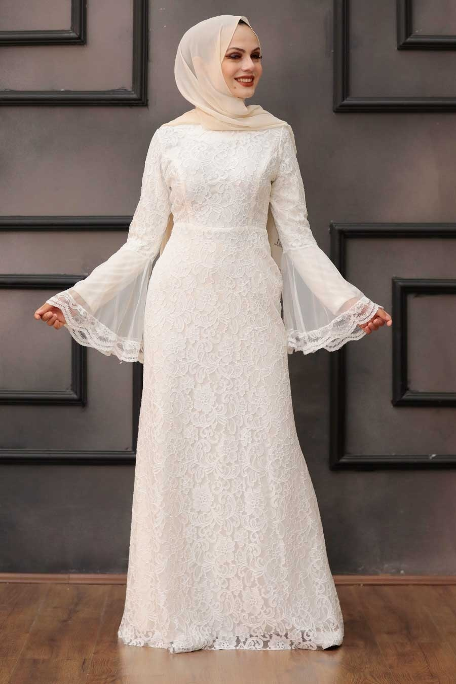 Tesettür Abiye Elbise - Dantelli Beyaz Tesettür Abiye Elbise 2567B