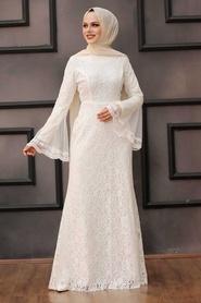 Tesettür Abiye Elbise - Dantelli Beyaz Tesettür Abiye Elbise 2567B - Thumbnail
