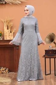 Tesettür Abiye Elbise - Dantelli Gri Tesettür Abiye Elbise 2567GR - Thumbnail
