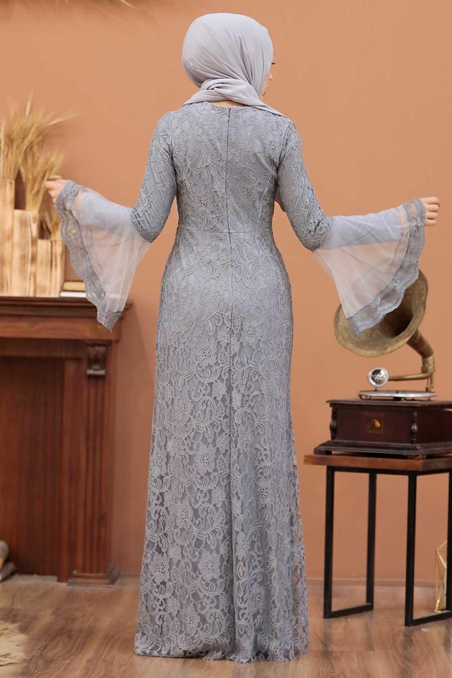Tesettür Abiye Elbise - Dantelli Gri Tesettür Abiye Elbise 2567GR